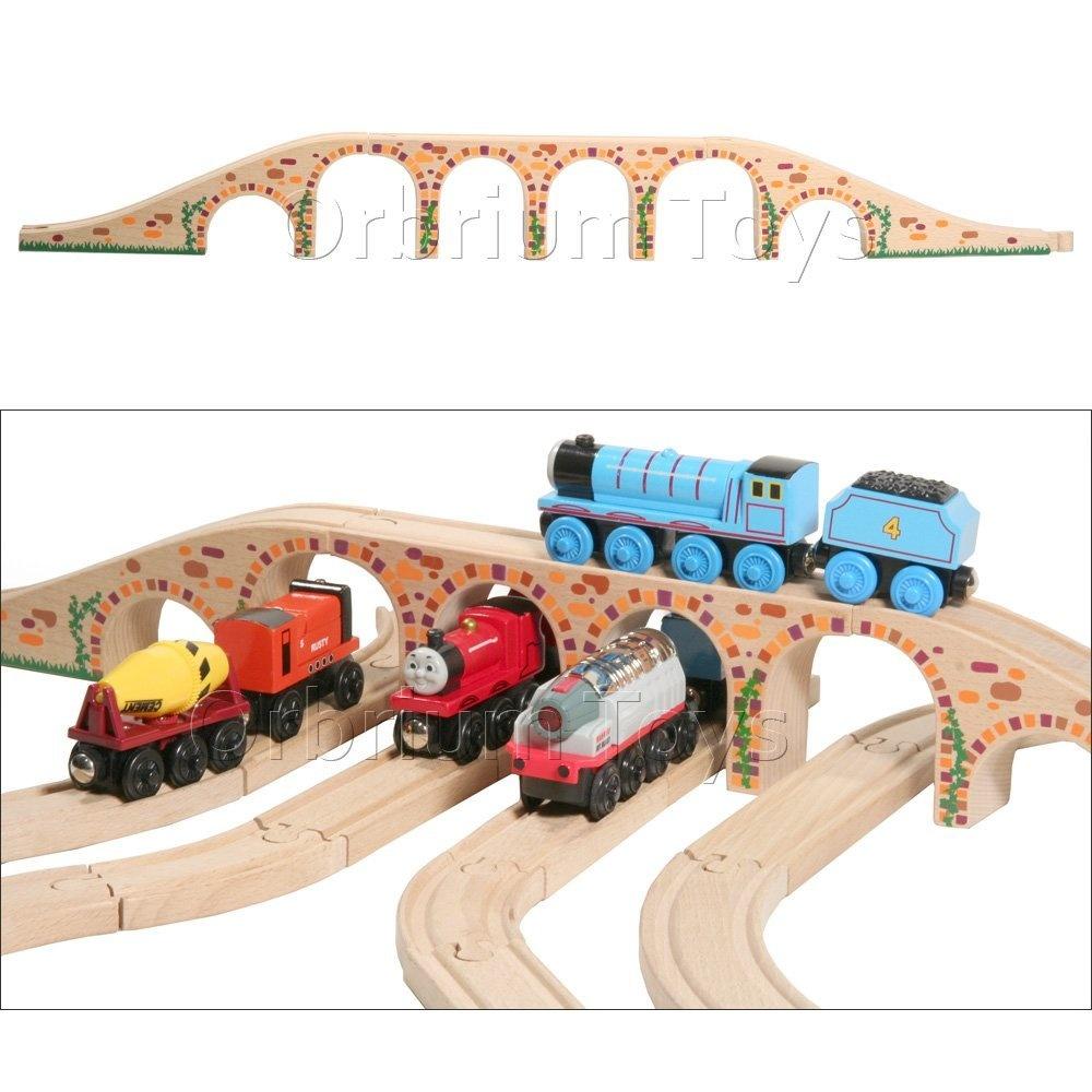Orbrium Toys 6 Arches Viaduct Bridge for Wooden Railway Track Fits Thomas Train