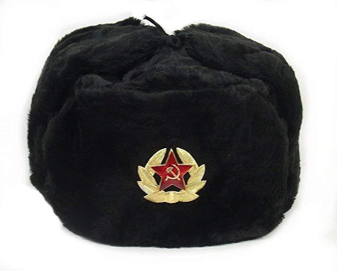 Authentic Russian Military Black Ushanka Hat Soviet Imperial Eagle Badge