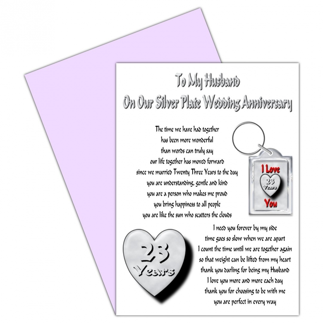 Husband 23rd Wedding Anniversary Card With Removable Keyring Gift 23 Years Our Silver Plate Anniversary
