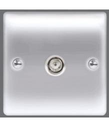 BG Electrical NPC60 Metal Polished Chrome Single Co-Axial Socket