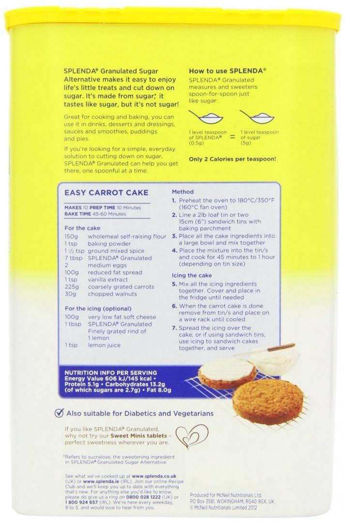 Splenda Granulated Sugar Low Calorie