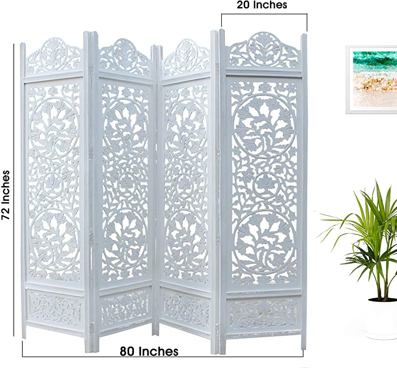 Hides clutter Intricately carved on both sides making it fully reversible highly versatile Kamal The Lotus Antique White 4 Panel Handcrafted Wood Room Divider Screen 183x203 adds d/Ã cor adds dÃcor Orient Originals Inc FBA/_20388