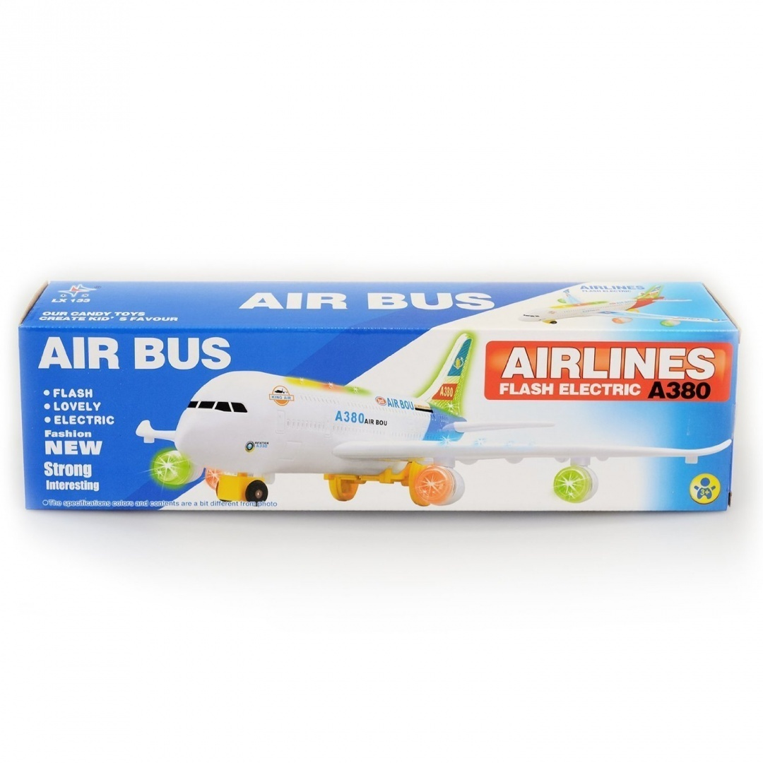 Mr Gadget Solution/® Airlines Flash Electric Air Bus A380 with Flash Lights Airplane Toy