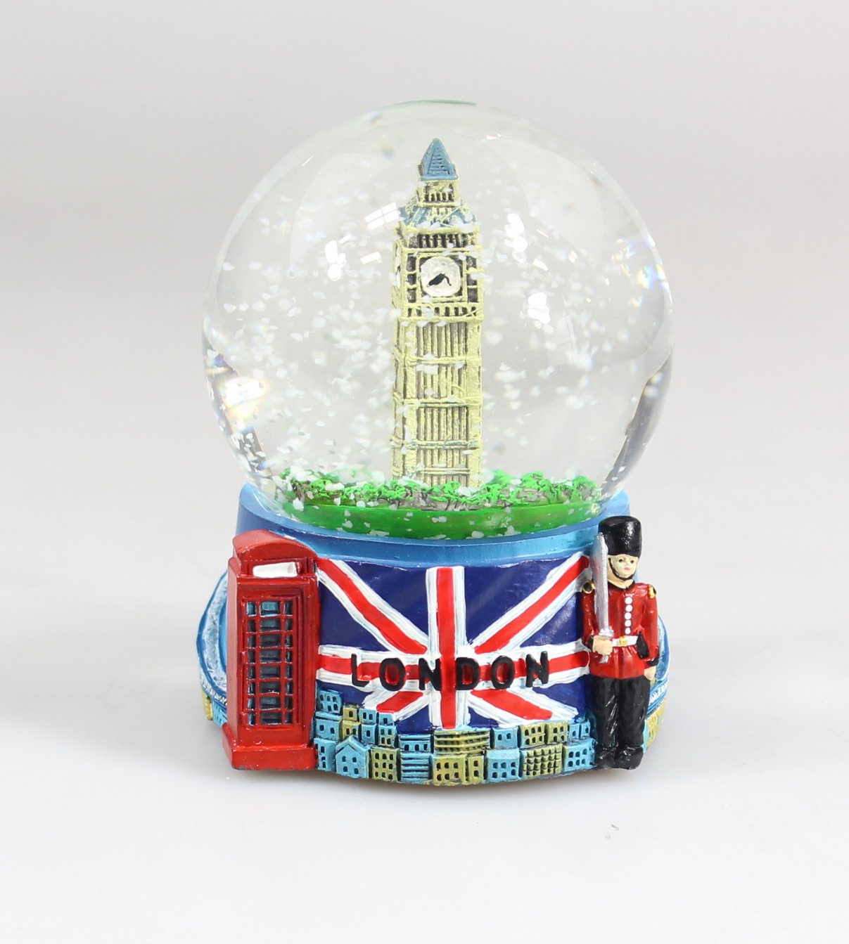 London Snow Globe Silver London Snow Globe with Big Ben and Union Jack Flag, 3.5 Inches Tall