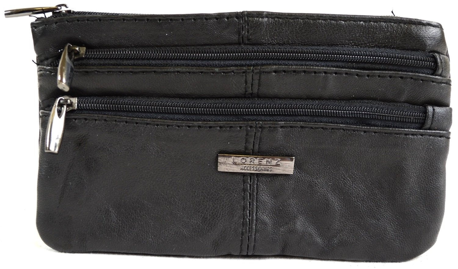Ladies Super Soft Nappa Leather Tri-Fold Purse with Zip Round Pocket