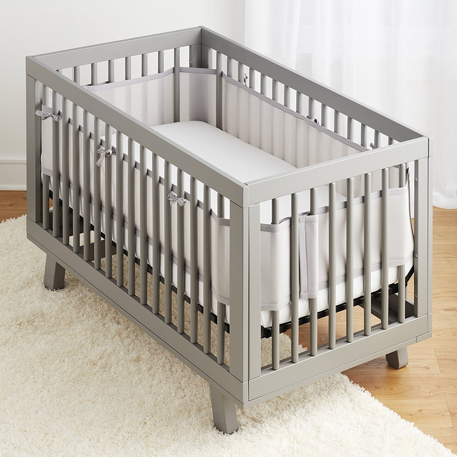 White BreathableBaby Classic Breathable Mesh Liner for Solid End Cribs
