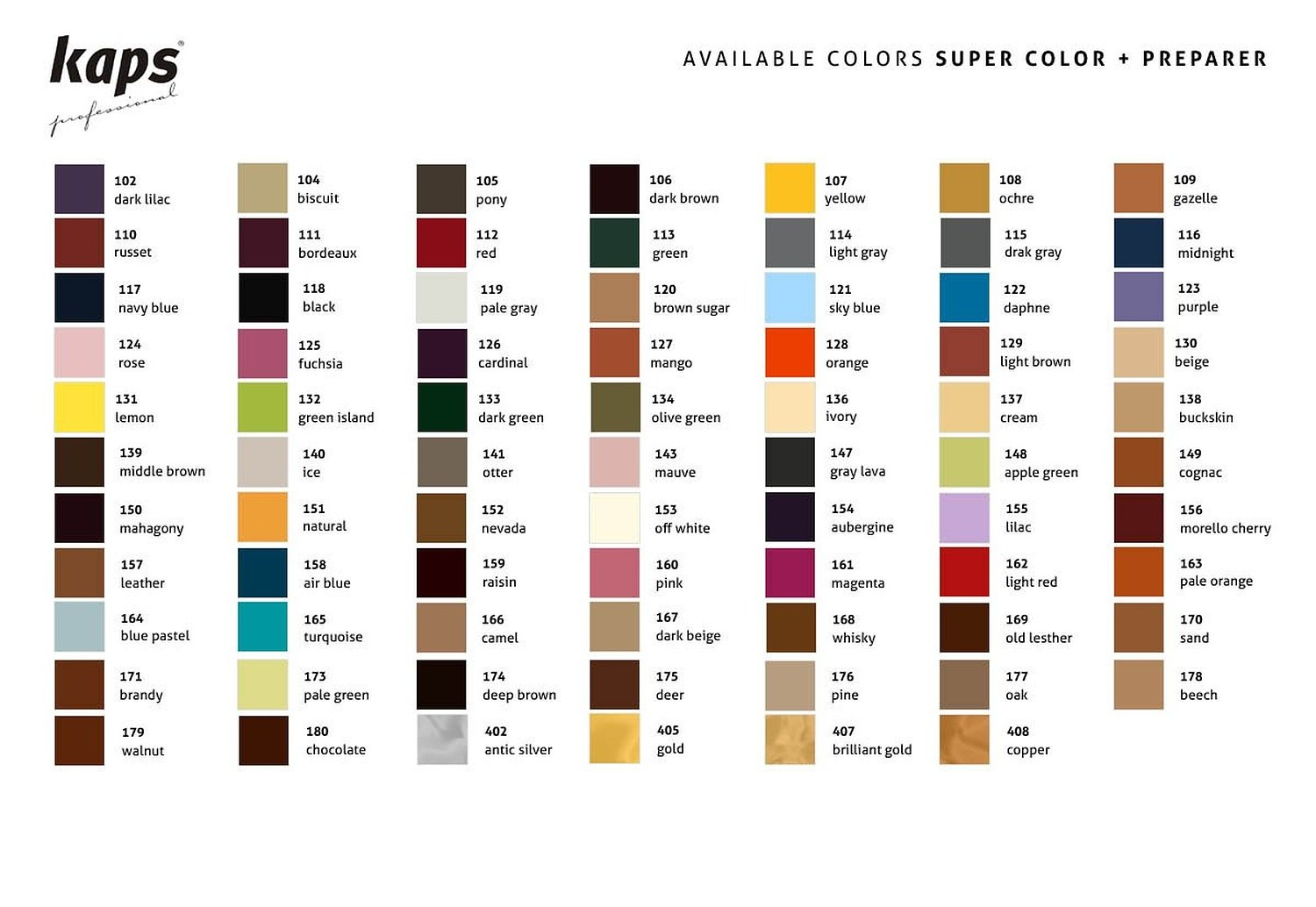 Kaps Super Color And Preparer Dye With Primer For Natural And Synthetic Leather Shoes 70 colors