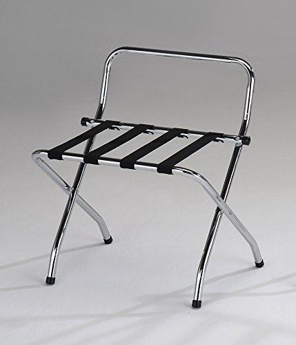 Kings Brand Furniture Chrome Black Metal Foldable High Back Luggage Rack