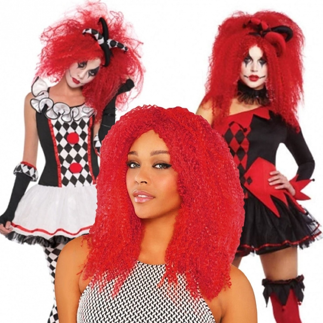 Ladies Crimped Red Wig Jester Clown Harlequin Honey Harley Quinn Halloween Fancy
