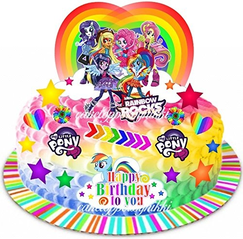 Sensational Edible My Little Pony Equestria Girls Rainbow Cake Scene Wafer Personalised Birthday Cards Beptaeletsinfo