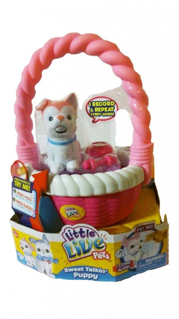 NEW LITTLE LIVE PETS SWEET TALKING PUPPY SET BLOSSY SET WITH BASKET