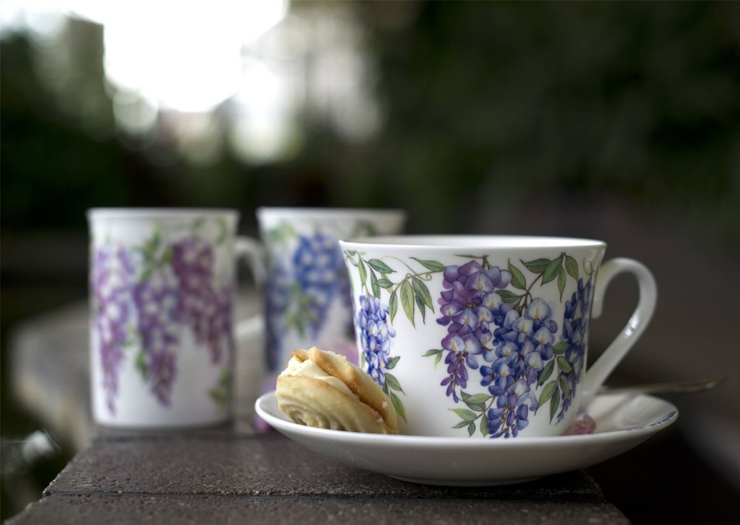 Roy Kirkham Jumbo Breakfast Cup and Saucer in Wysteria Design