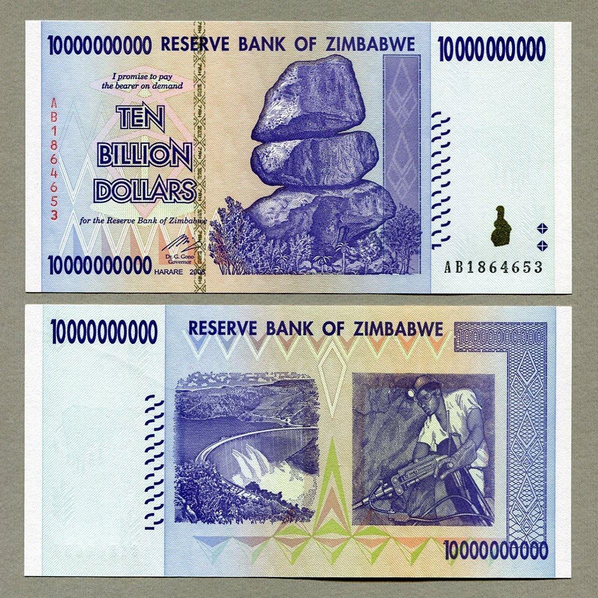 5 x Zimbabwe 50 Billion Dollar banknotes AB//2008//UNC and consecutive