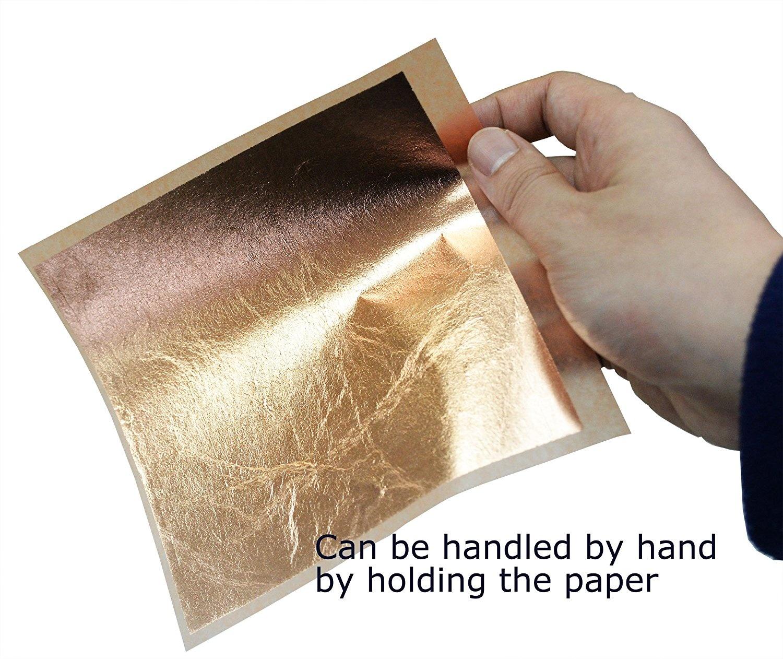 Yongbest Imitation Gold Leaf,100 Sheets Copper Leaf Sheets for DIY Gilding Crafting Arts Project Furniture Decoration 14cm*14cm