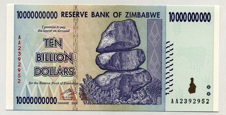 paper money currency 1 x Zimbabwe 10 Billion Dollar banknote