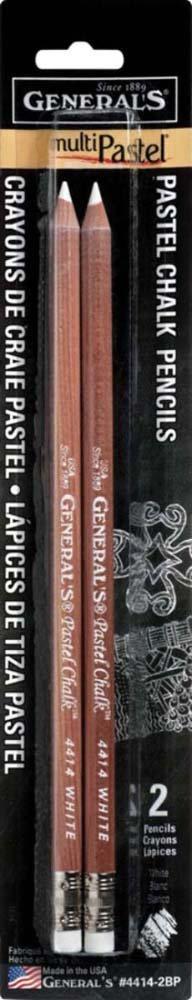 General Pencil Gen-4414-2BP 2 Pencils//Pack Multi-Pastel Chalk Pencils White 2-Pack