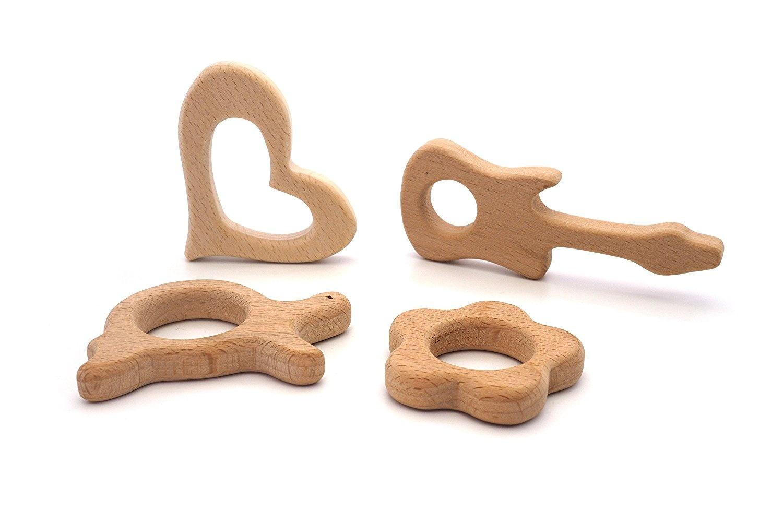 Creationtop Set of 4pc Wooden Teethers Handmade Wooden Dino