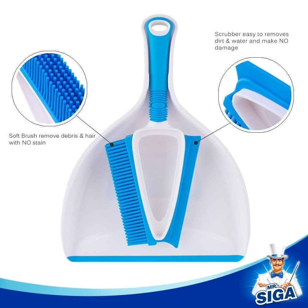 SIGA Soft Bristle Brush//Scrubber with Mini Dustpan MR Blue /& White