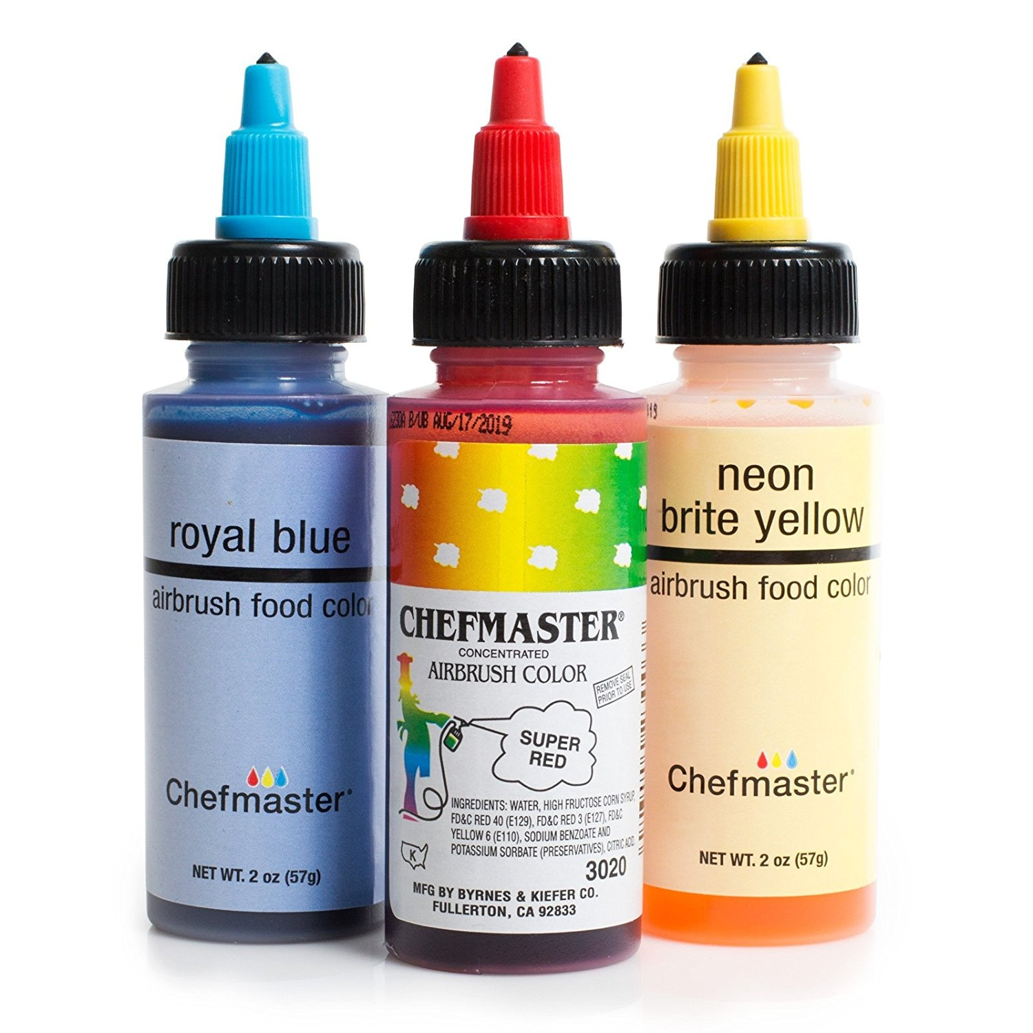 Chefmaster Cake Decorating Food Colouring Airbrush Paint Set - 3 Primary  Colours 60ml