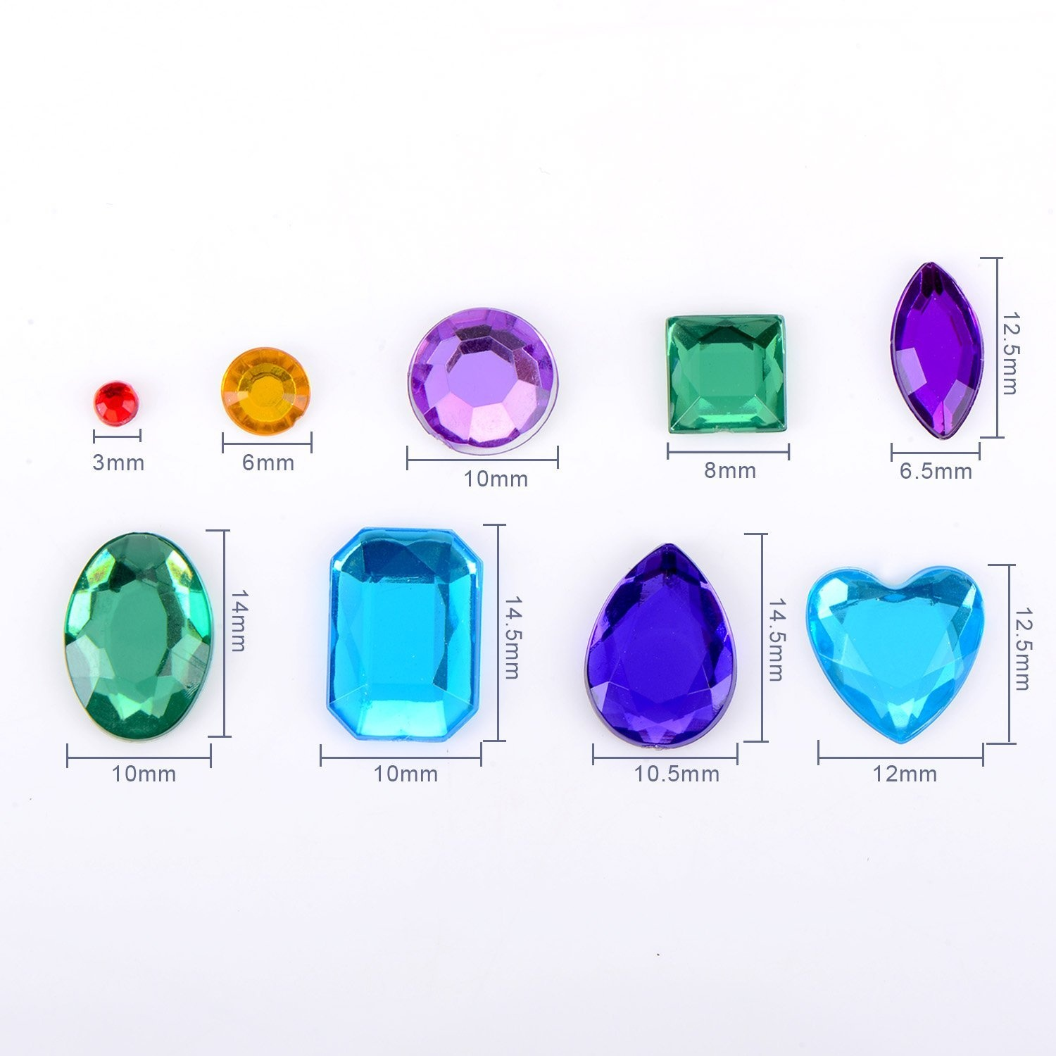 Outus Self-adhesive Rhinestone Sticker Bling Craft Jewels Crystal Gem Stickers 5 Sheets Multicolor 2 Assorted Size