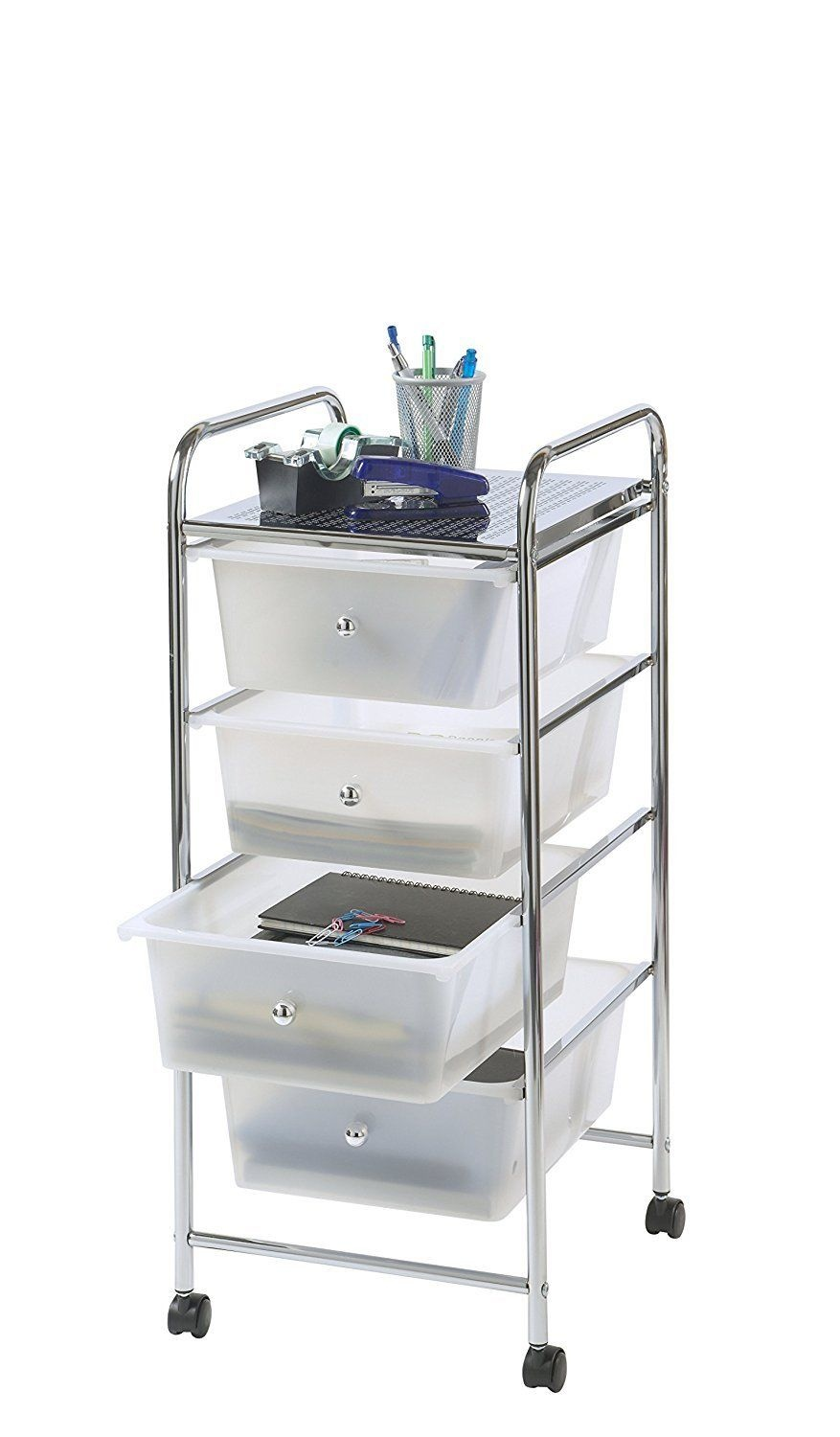VonHaus 4 Drawer Mobile Storage Trolley for Home Office or Beauty Salon White
