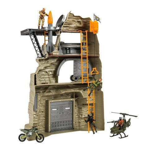 The Corps Elite Rock Mountain Stronghold Playset Inc HELICOPTER BIKE 4 FIGURES