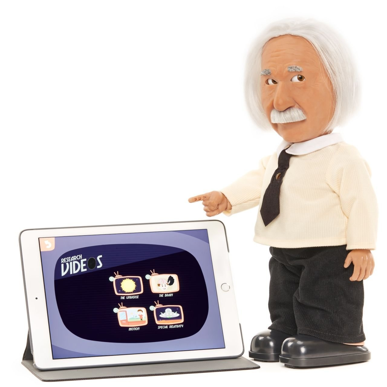 Play Brain Games /& Learn Science from Albert Einstein Character with Realistic Facial Expressions. Walks Connects to WiFi Professor Einstein Robot Talks uses Voice Commands