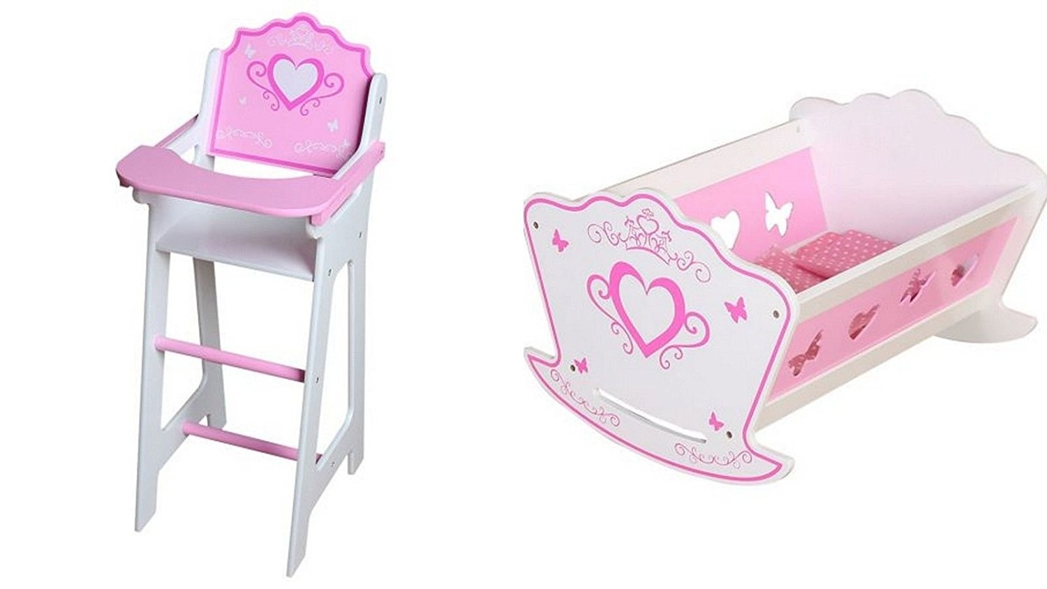 SET: Pink and White Wooden Dolls Highchair & Rocking Cradle