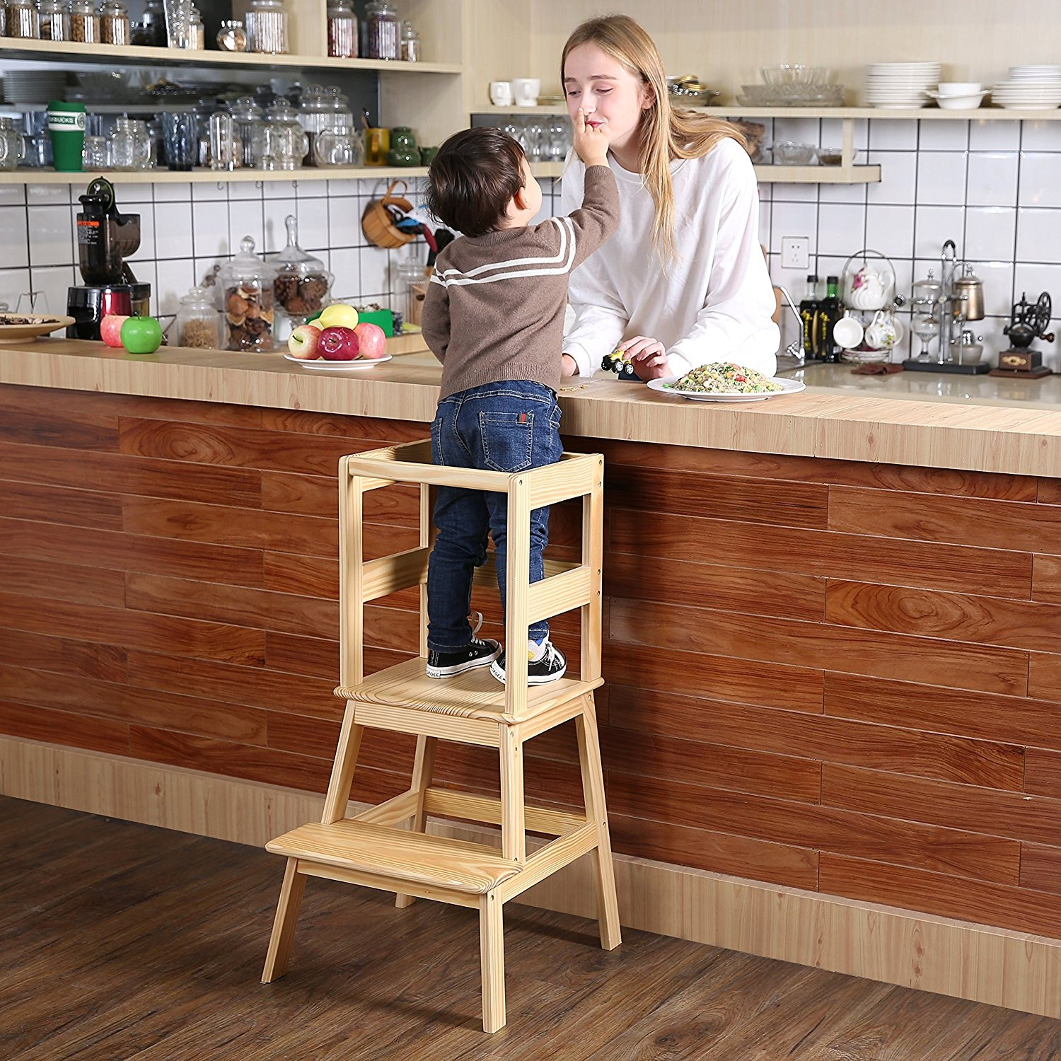 Excellent Sdadi Learning Tower Kids Kitchen Helper Kitchen Step Stool With Safety Rail For Toddlers 18 Months And Older Solid Wood Natural Caraccident5 Cool Chair Designs And Ideas Caraccident5Info