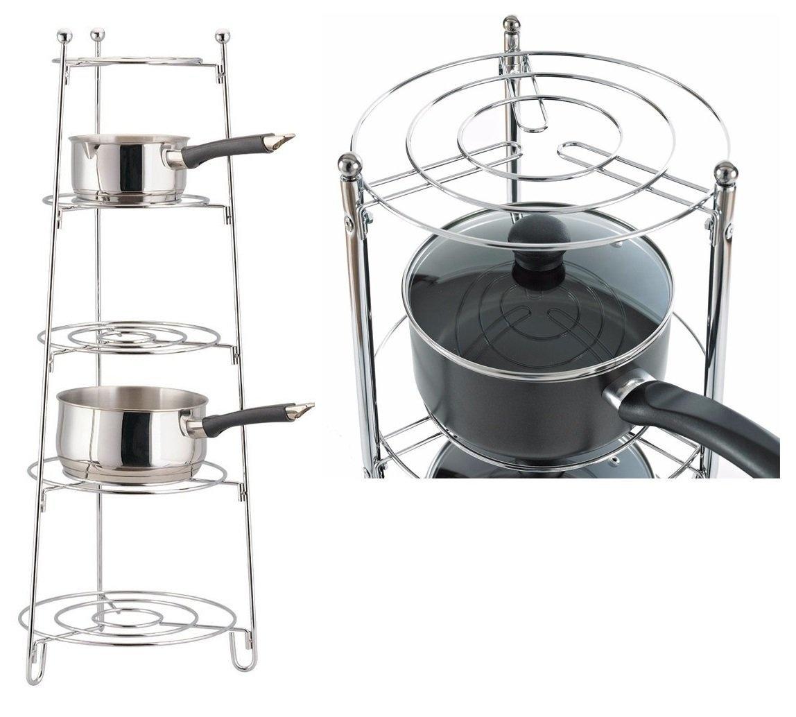 5 Tier Saucepan Stand Kitchen Display Shelf Rack Storage Solution Chrome New