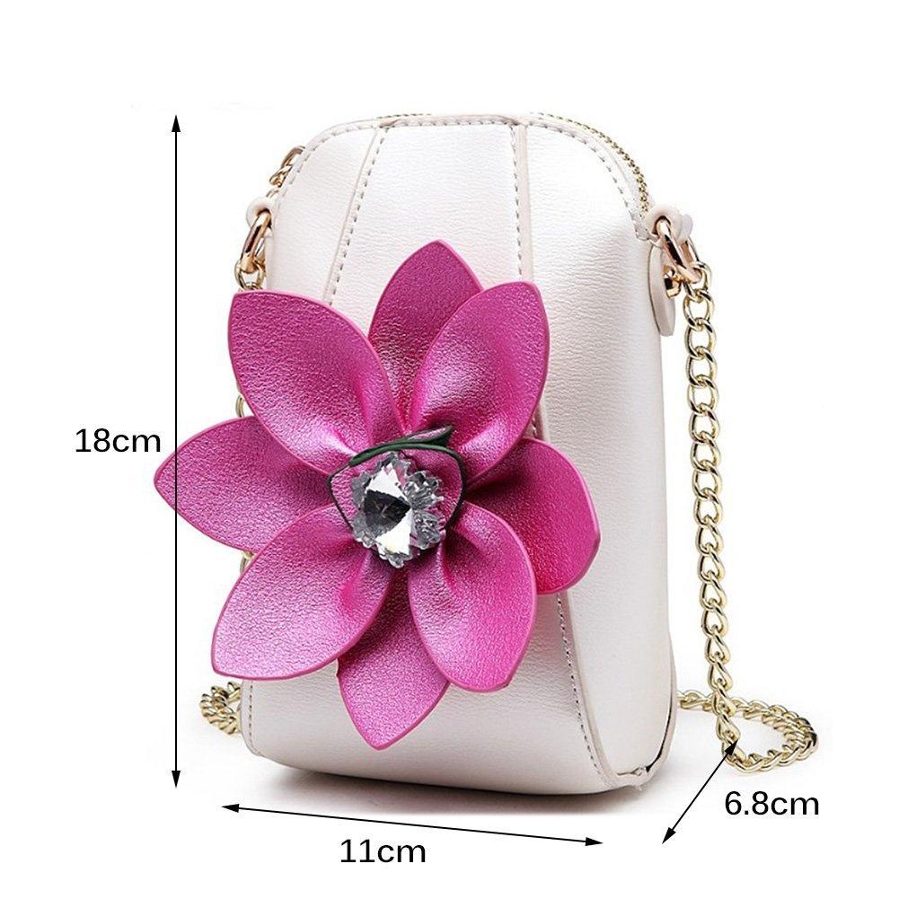 Multi-colored Leather Crossbody//Shoulder Bag w// 3-D Flowers w//Rhinestone Centers