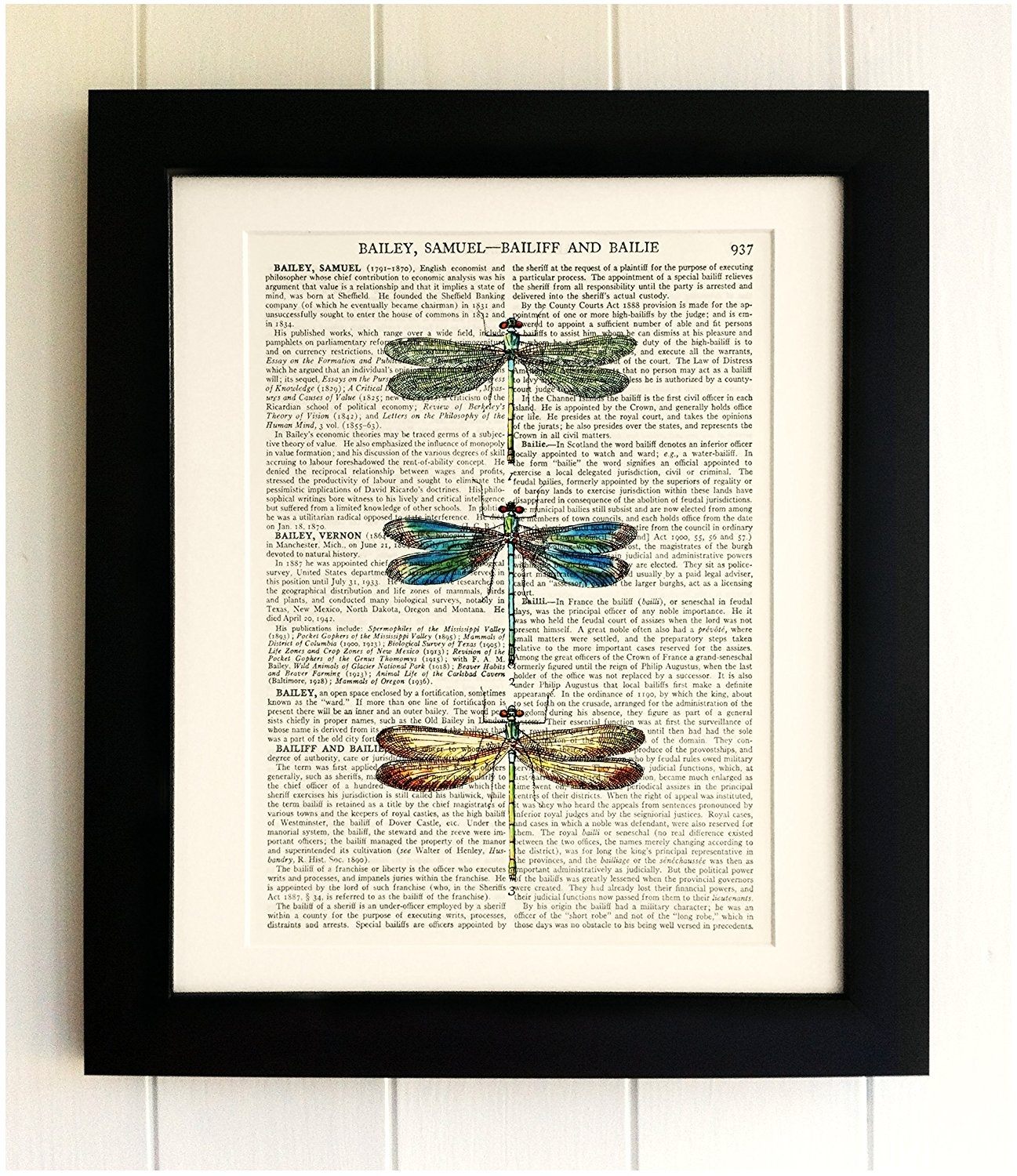 Green Dragonflies Upcyled Dictionary page Wall Art Antique Book page Art Print