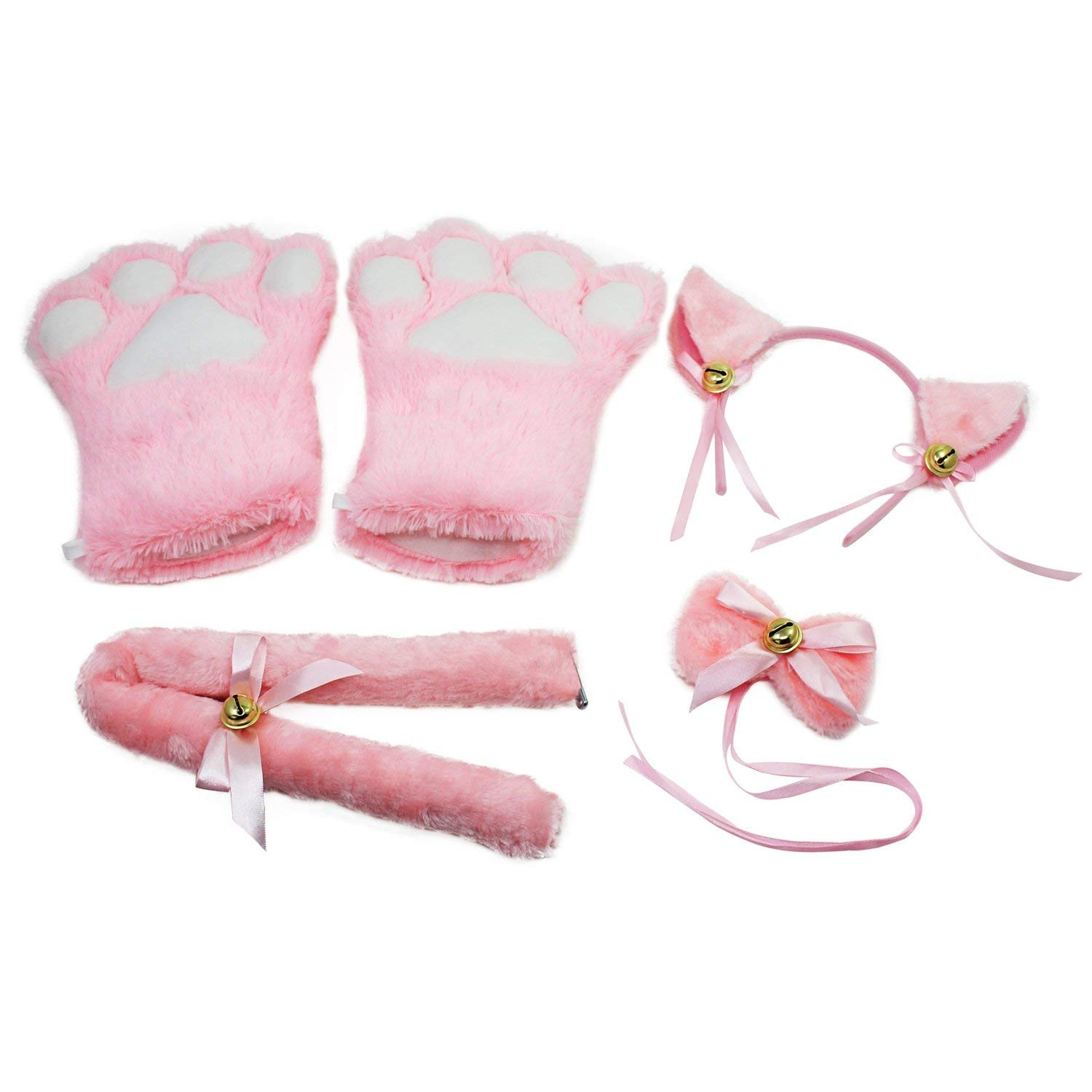 Black KEESIN Cat Cosplay Set Plush Claw Gloves Cat Kitten Ears Tail Collar Paws Cute Adorable Party Costume Set for Women Girl