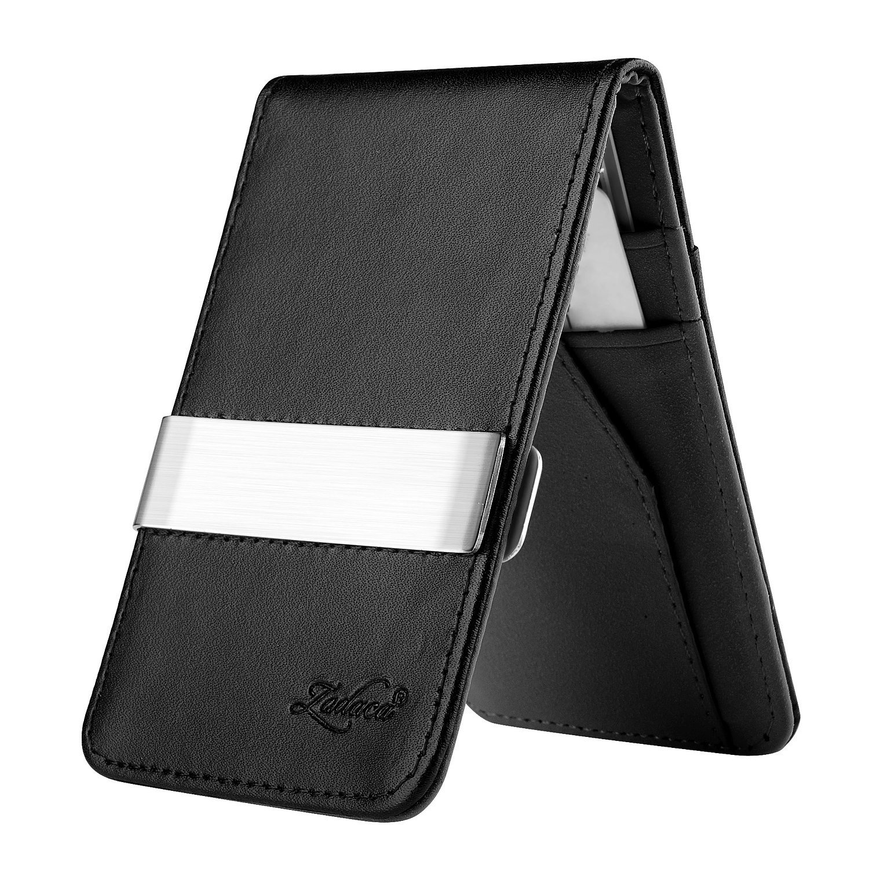 Zodaca Horizontal Genuine Leather Money Clip Wallet Black//Orange