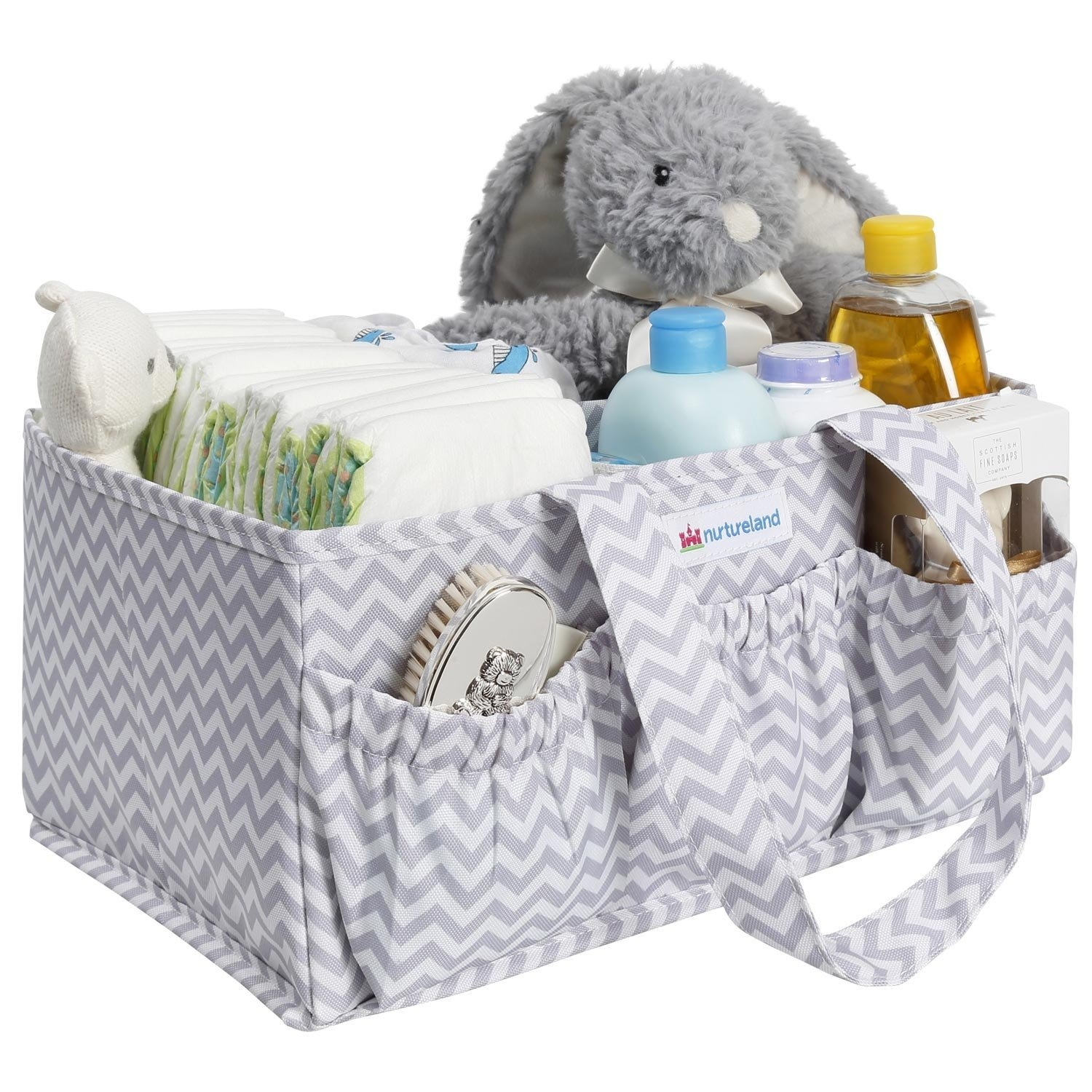 Baby Diaper Stacker Bin Bibs Changing Table Bag Diaper Caddy By Littlest Sweet: Nursery and Car Organizer Toys And Pacifiers Bottles Large Pockets And Compartments Also Used to Hold Snacks