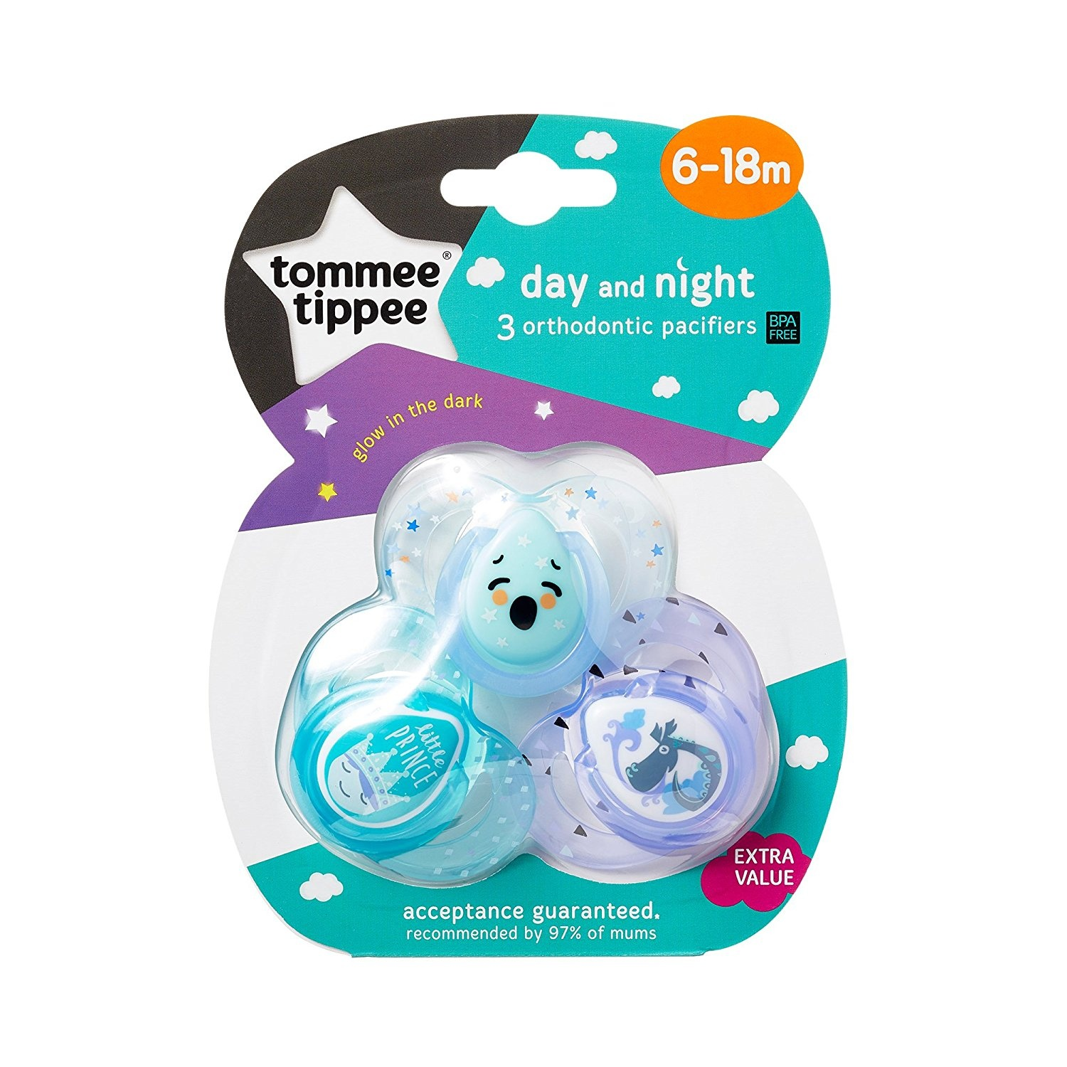 18-36 Months Colors May Vary 3 Count BPA-Free Tommee Tippee Day /& Night Pacifiers with Glow-in-The-Dark