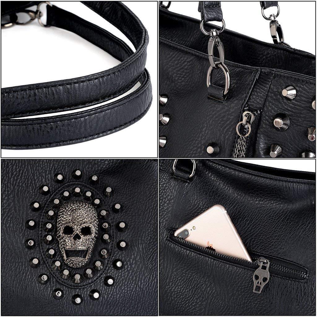 UTO Women Skull Tote Bag Rivet Studded Handbag PU Leather Purse Shoulder Bags
