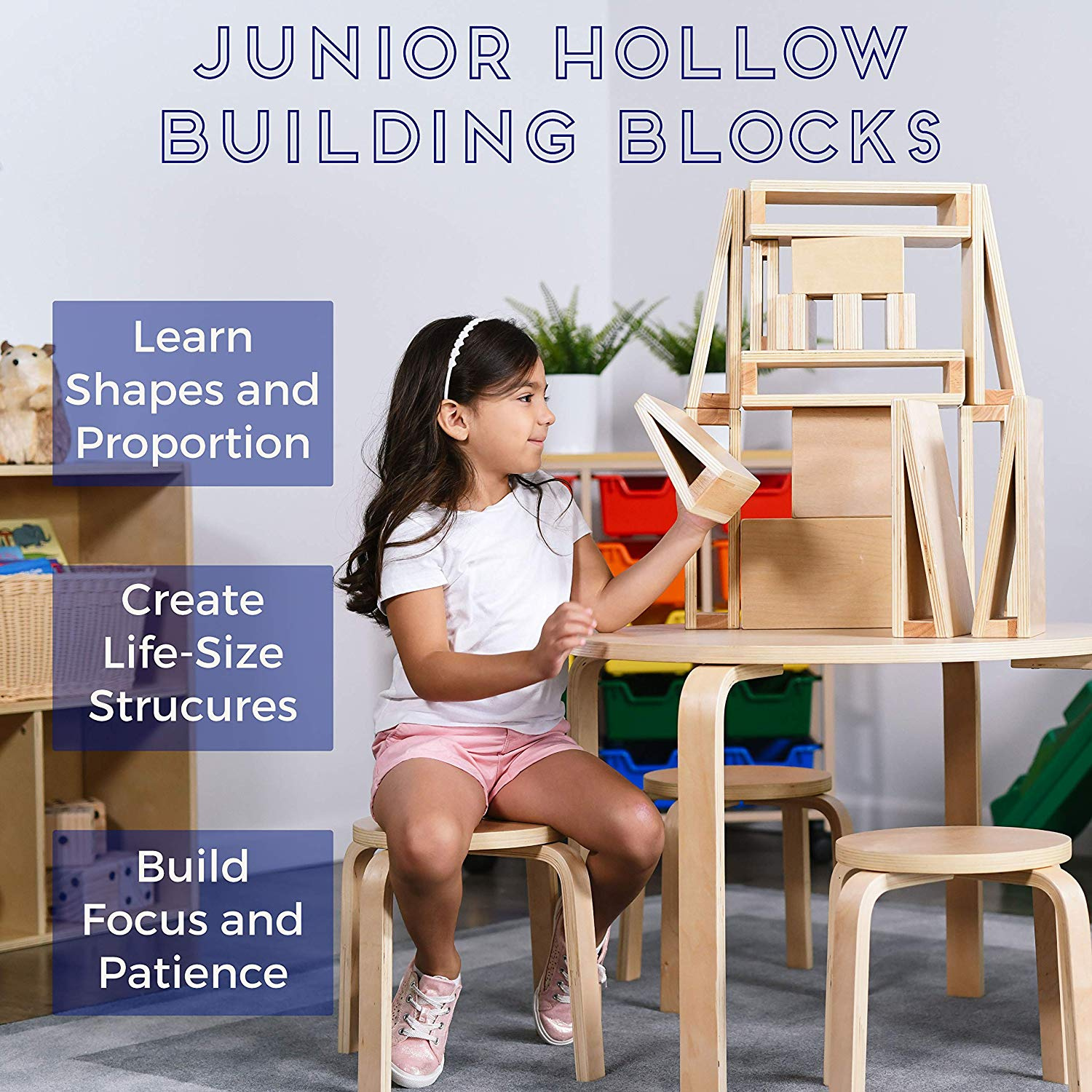 Natural Finish Educational Toy with Assorted Shapes ECR4Kids Junior Hollow Block Play Set,/Lightweight Wooden Building Blocks for Kids Play 16 Pieces