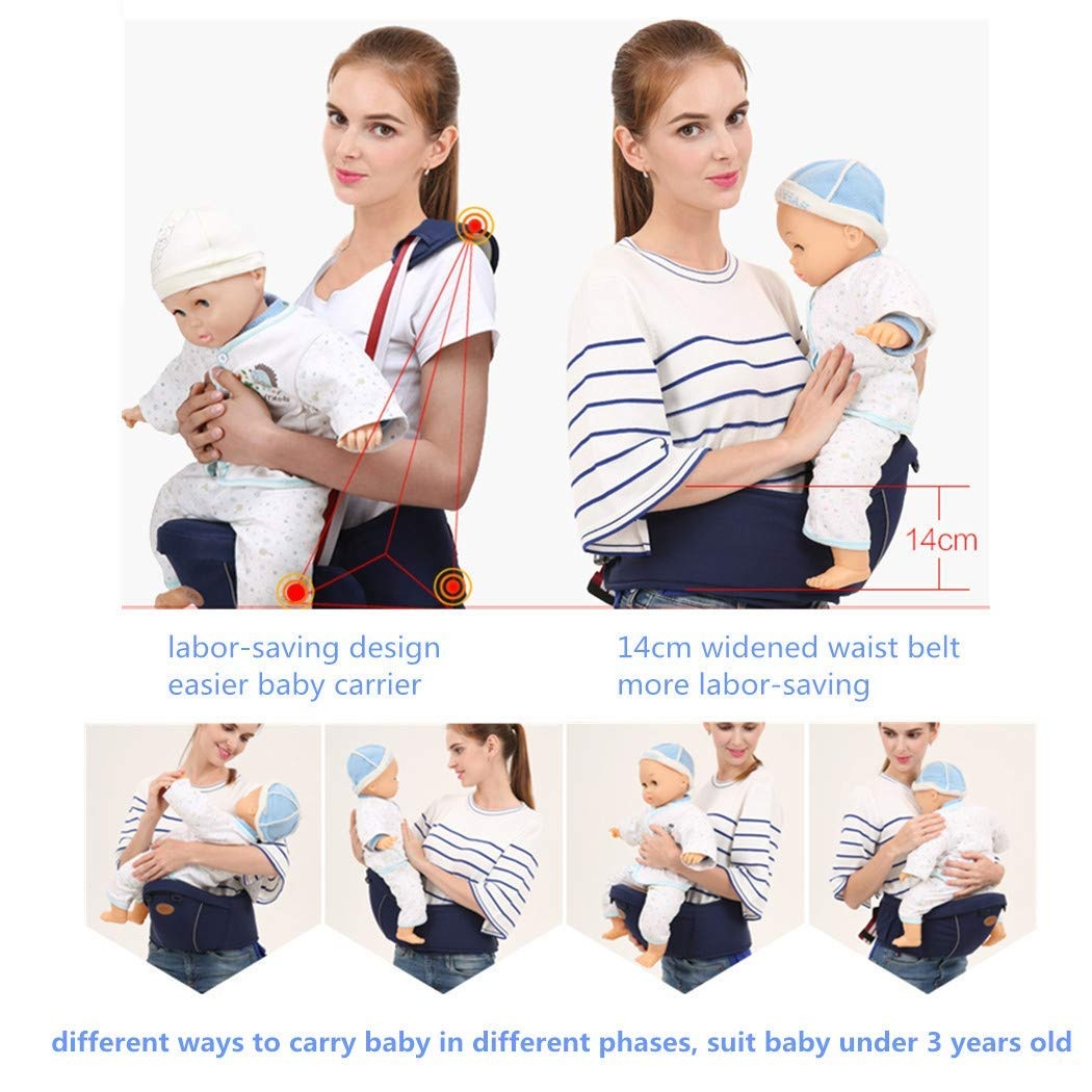 Waist Stool Seat for Carrying Baby Toddlers Ergonomic Hipseat Baby Carrier with Shoulder Strap Light Weight and Labor Saving-Blue