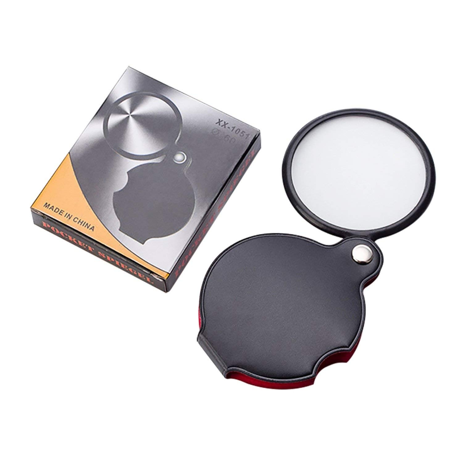 8X Magnifying Glass 50mm Folding Pocket Handheld Rotating Loupe with Leather FOR
