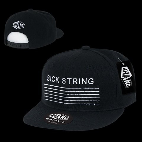 WHANG Mens Sick String Guitar Bass String Embroidery Constructed Cap