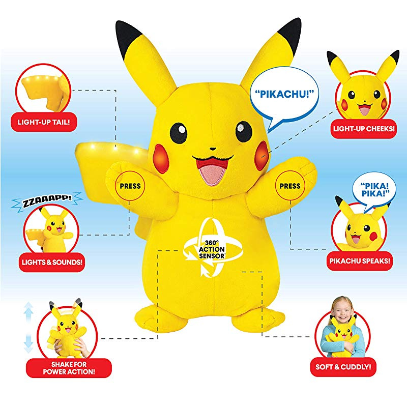 Pokemon Plush Comes with Movement Sensors Lights and Sounds Power Action Interactive Pikachu