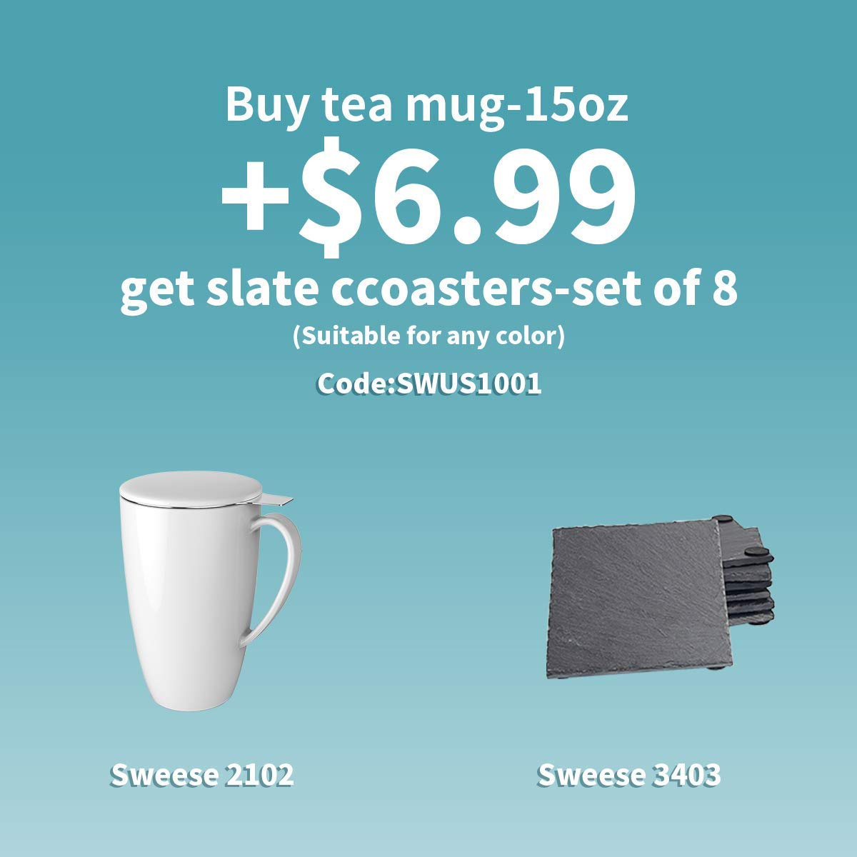 Sweese 2151 Porcelain Tea Mug with Infuser and Lid 15 OZ