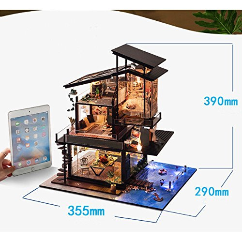BEAUTYS CASTLE DIY Loft Apartments Wooden Dollhouses With LED Light And Wooden Frame For Creative Birthday Gift BEAUTY/'S CASTLE