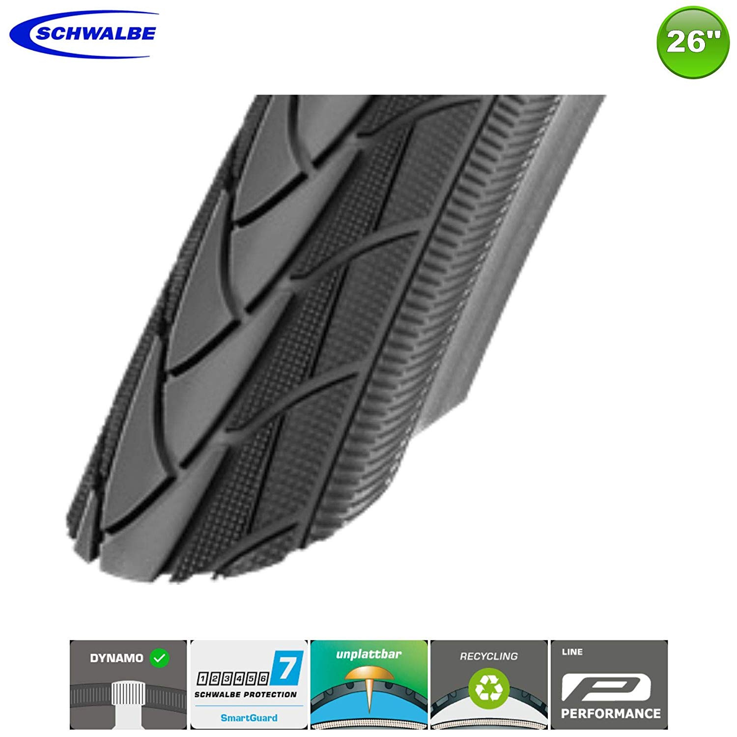 Schwalbe Marathon Plus Bike Tyre Coat Black Reflex 26 x 1 3//8 37-590
