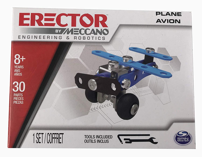 Bulldozer Race Car Bundle SMaster Meccano Erector Building Set of 6 Bi-Plane - Miniature Plane Helicopter Car