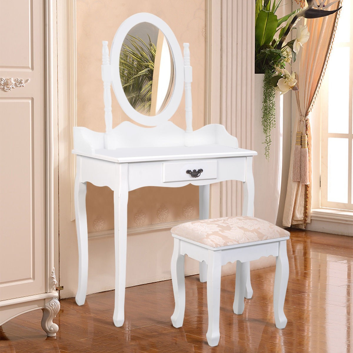 Vanity Wood Makeup Dressing Table Stool