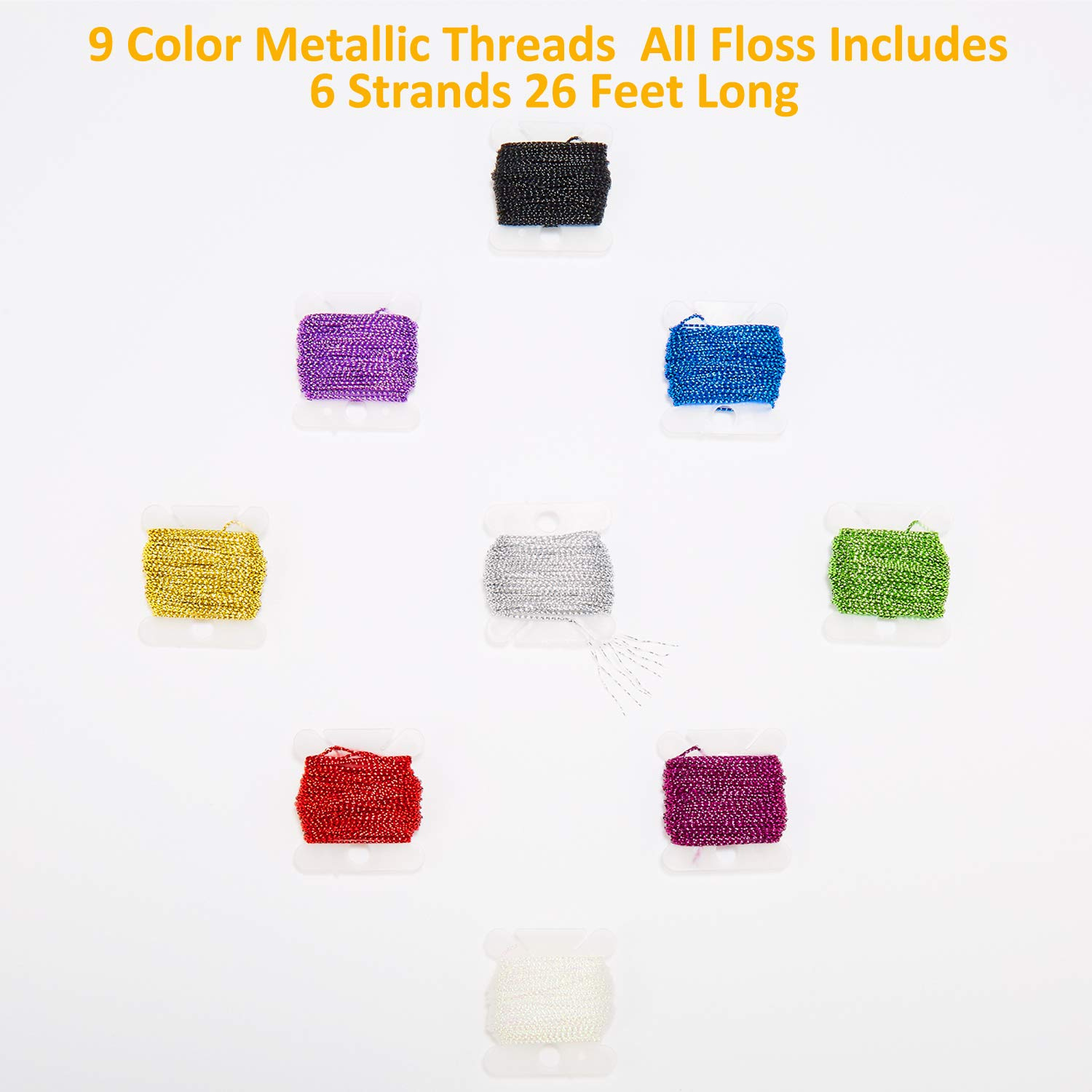 MXRS 50Pcs Skeins Embroidery Floss Cross Stitch Supplies Cross Stitch Thread with 16 Pcs Embroidery Needles