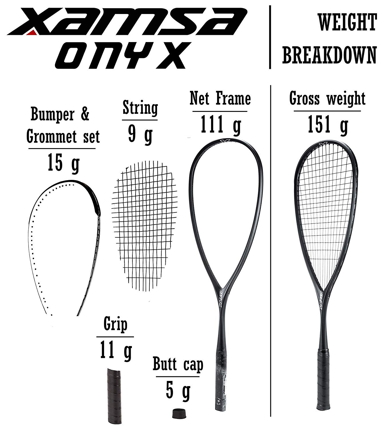 Xamsa Onyx Squash Racquet Strung by Xamsa - Shop Online for Sports &  Outdoors in the United States