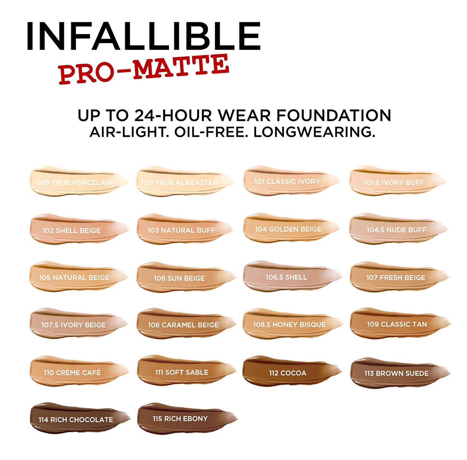 L Oreal Paris Makeup Infallible Pro Matte Liquid Longwear Foundation Ivory Buff 101 5 30ml By L Oreal Paris Shop Online For Beauty In The United States